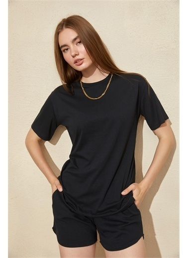 Setre Mor Basic T-Shirt Şort Takım Siyah